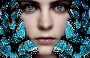 beautiful face cover by blue butterfly
